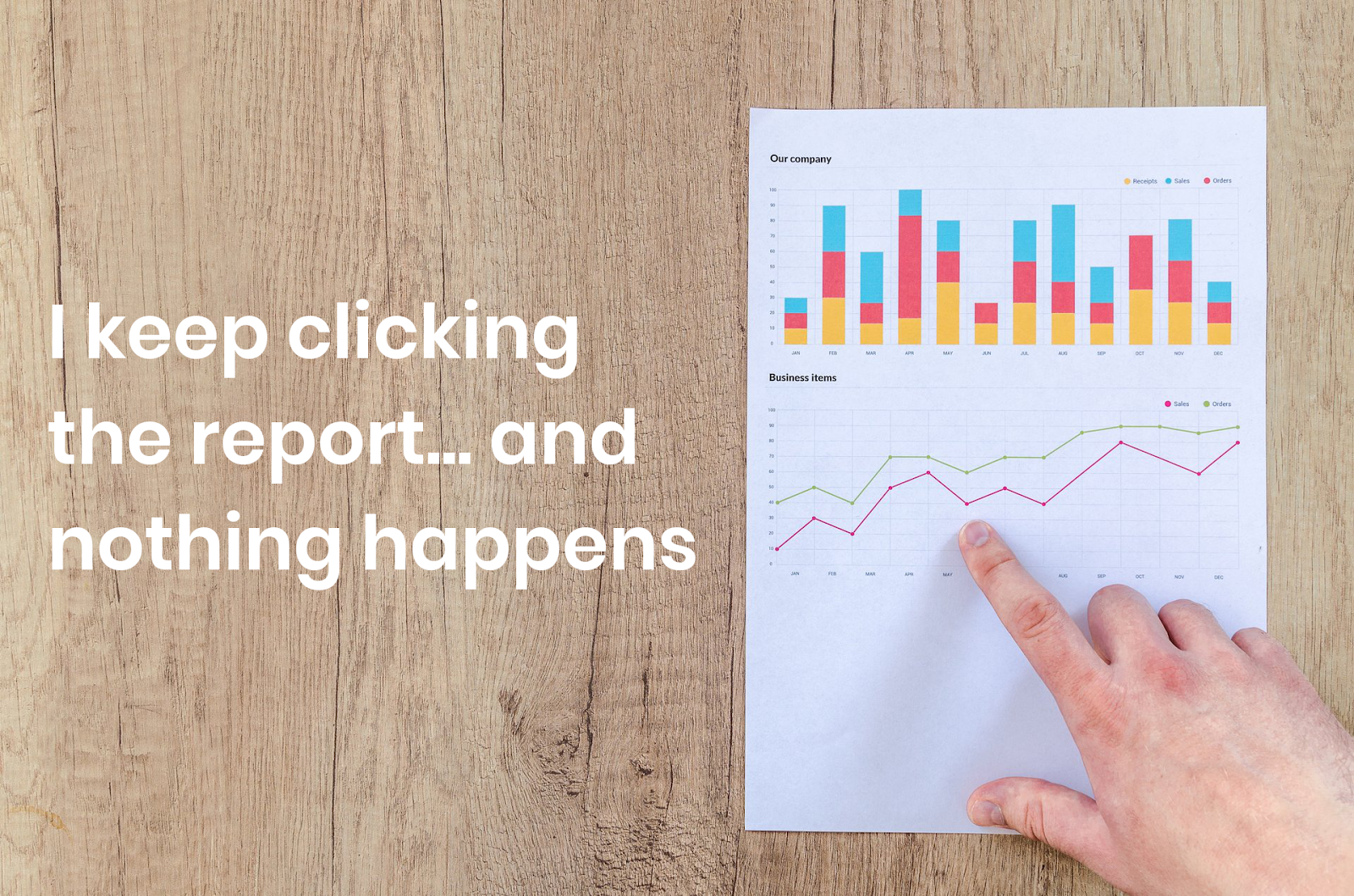 Finger pointing at data chart on paper report