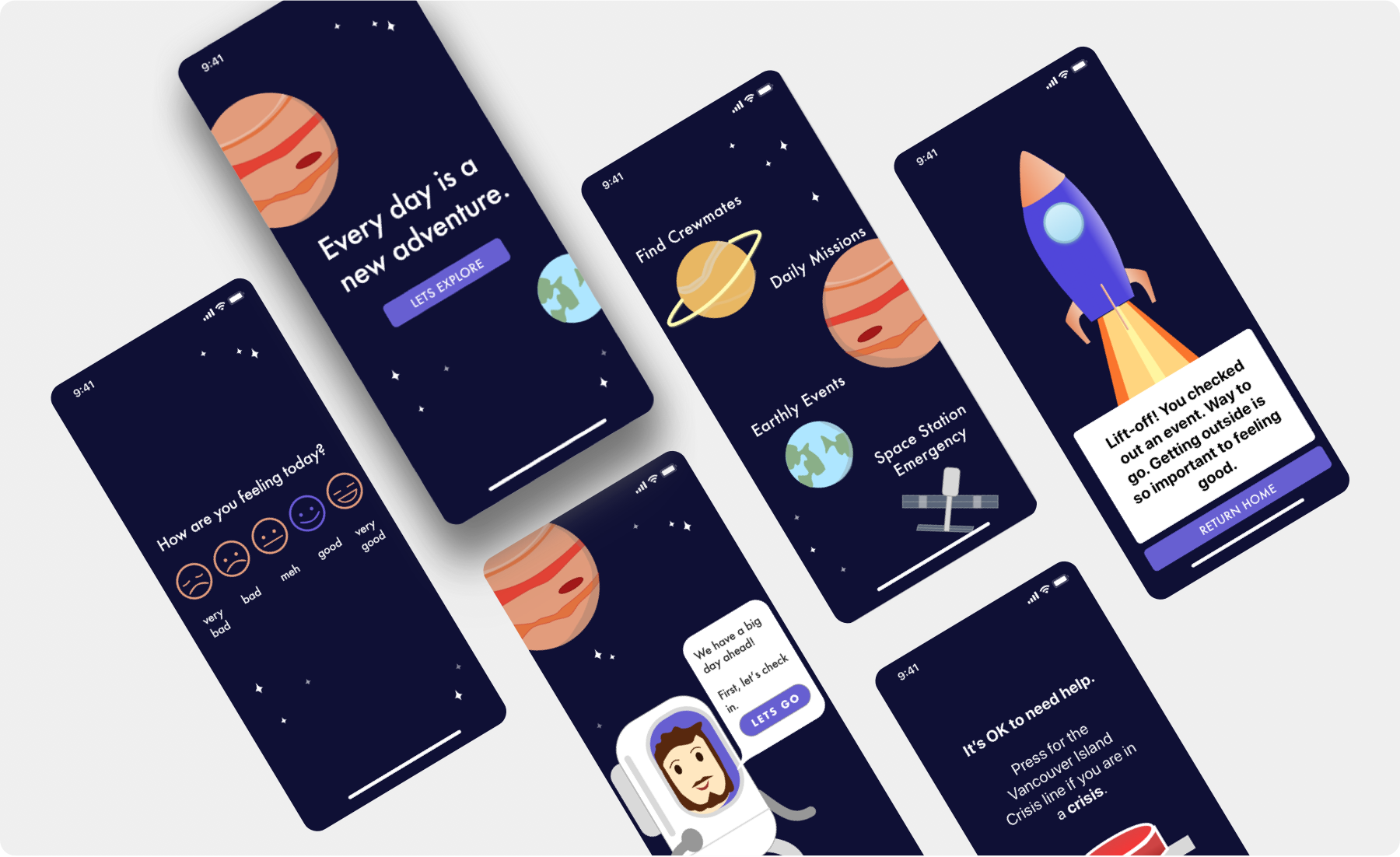 Two iphone screens show illustrations of space stations