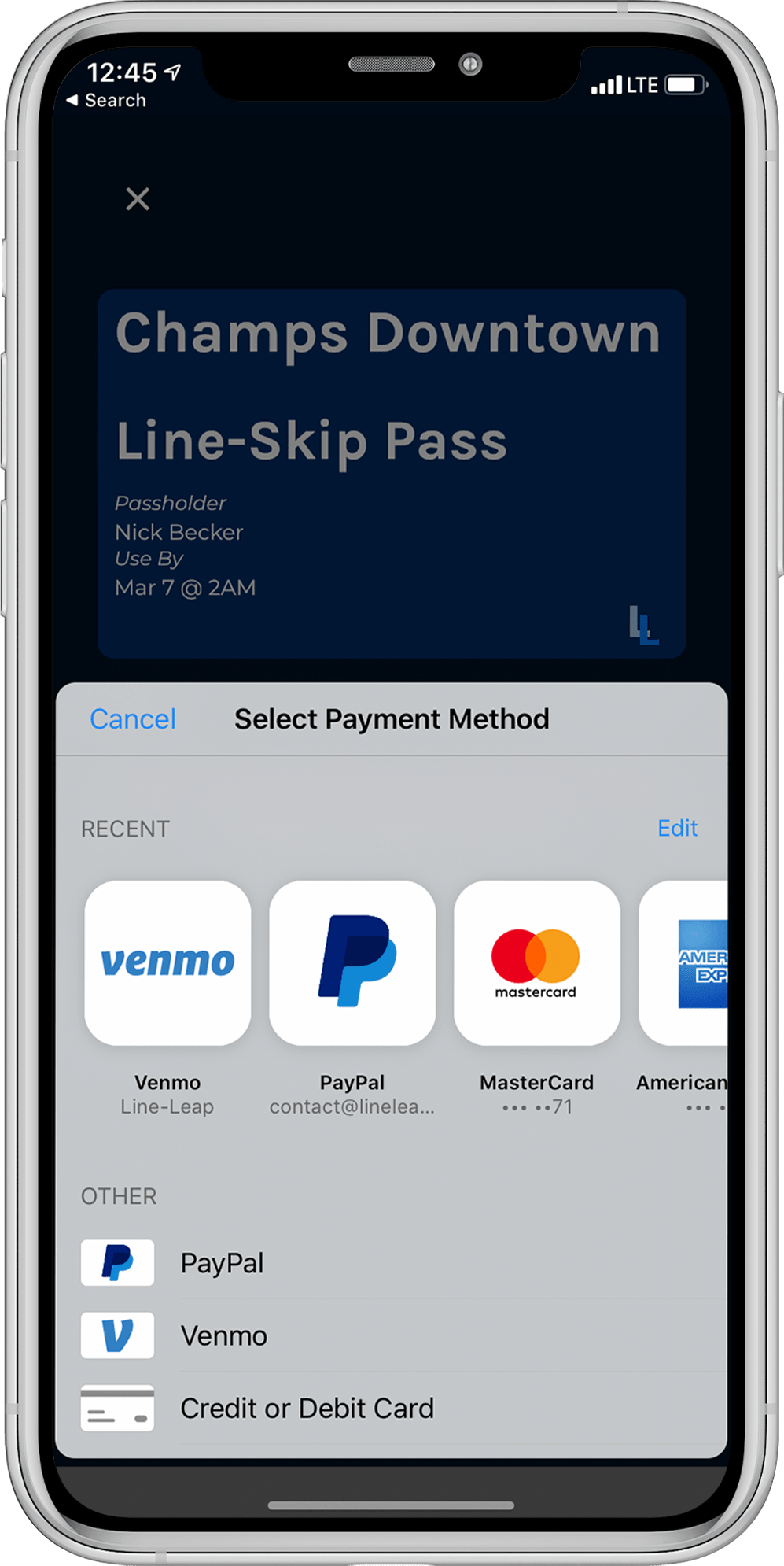 Mobile App Buying A Pass