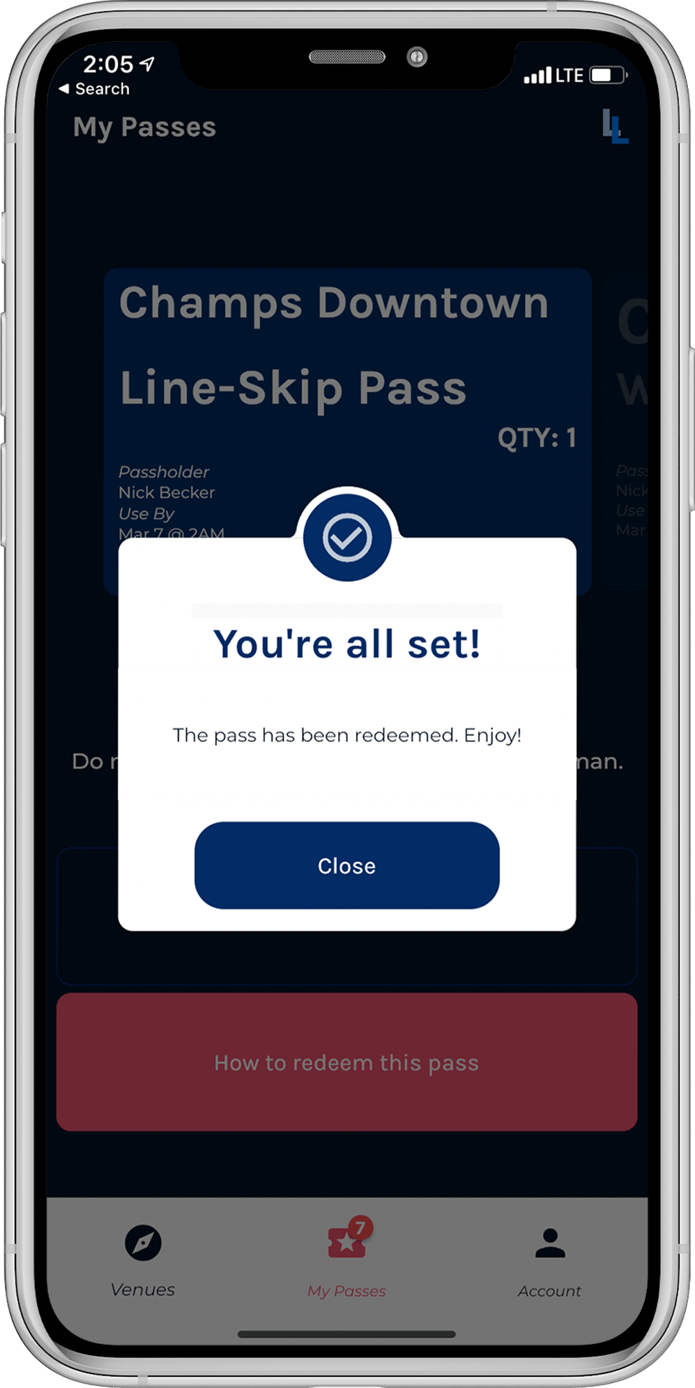Mobile App Redeeming A Pass