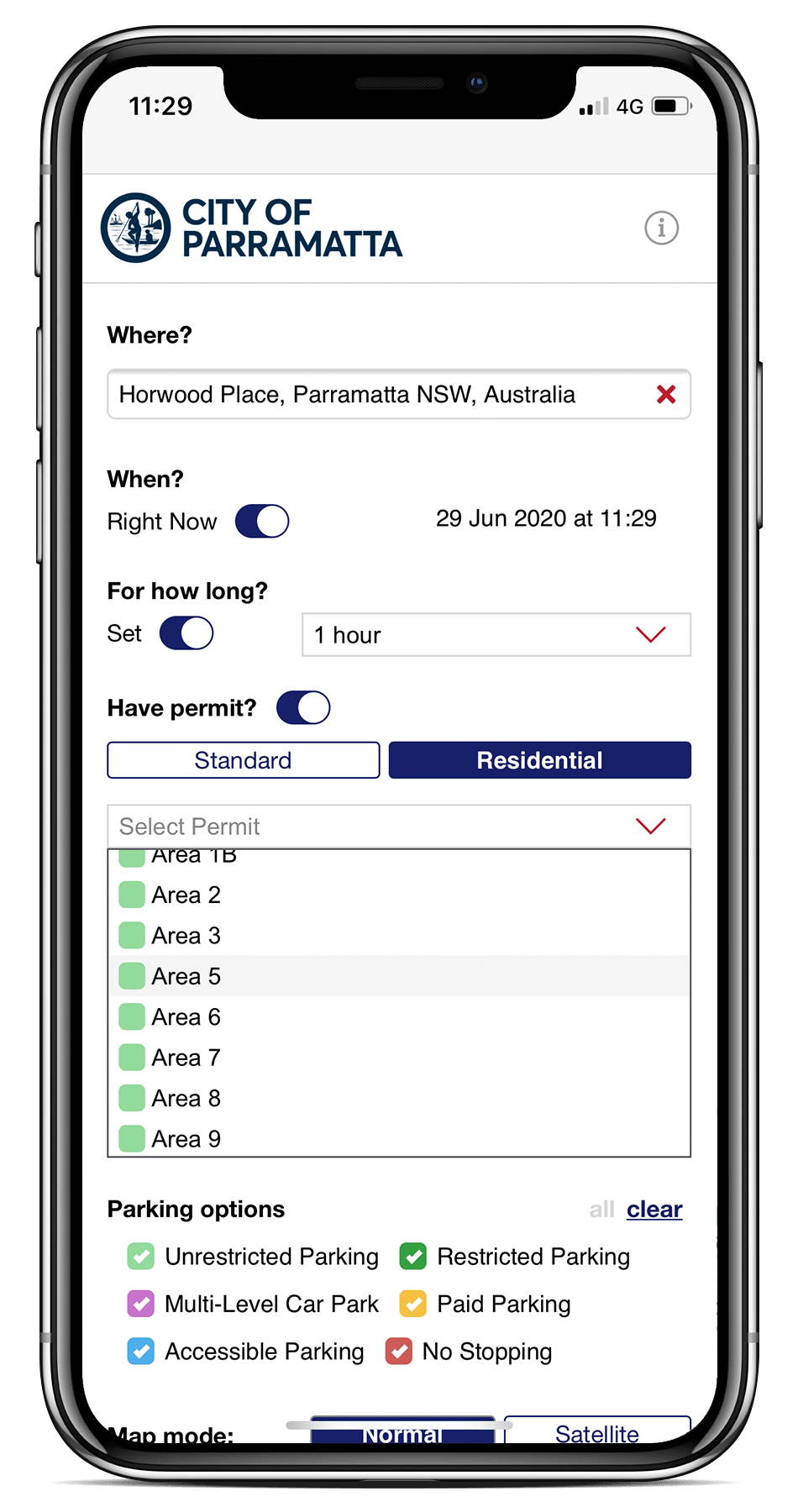 Spot Planner mobile UI selecting permit