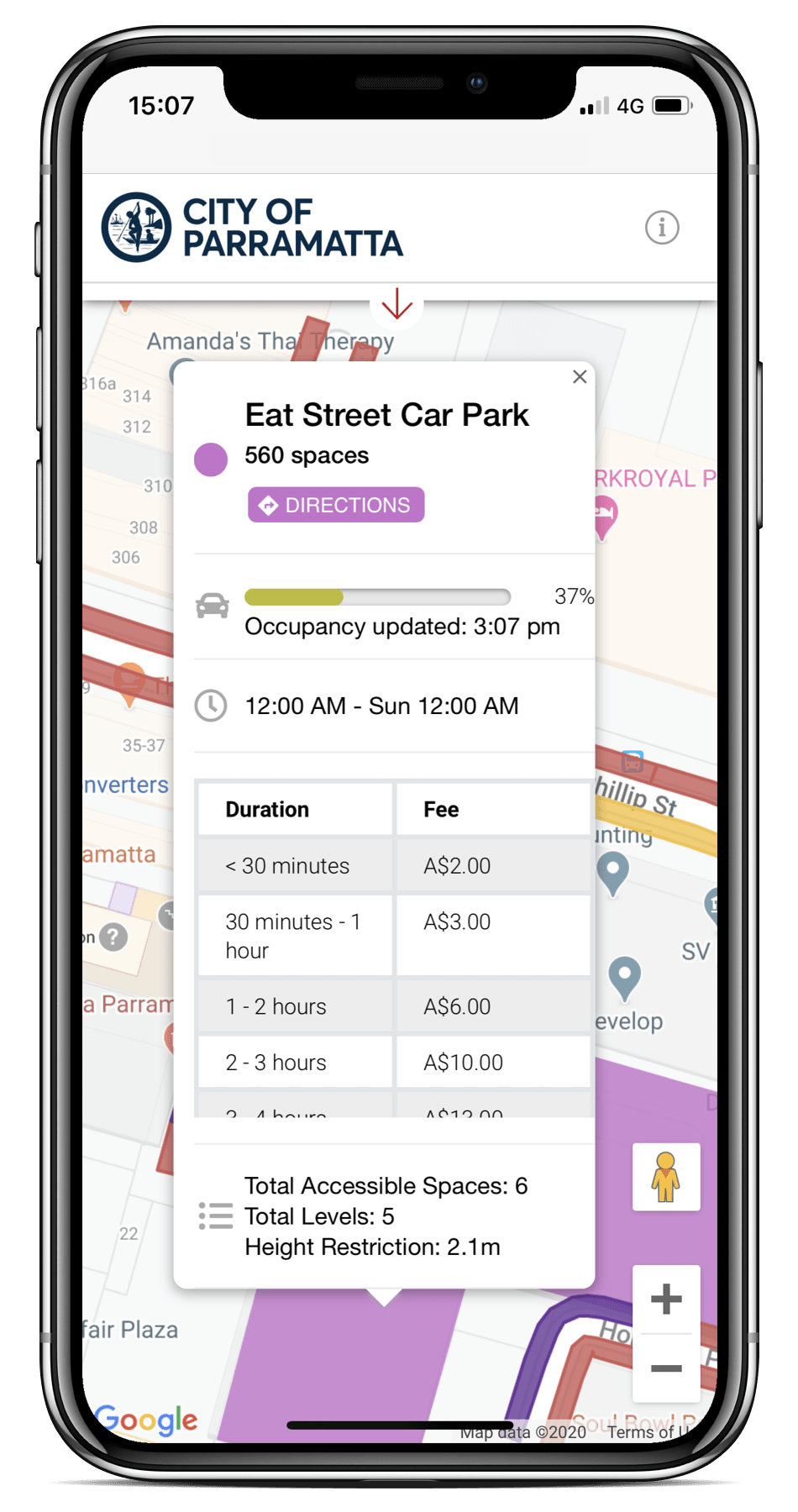 Spot Planner mobile UI checking parking availability