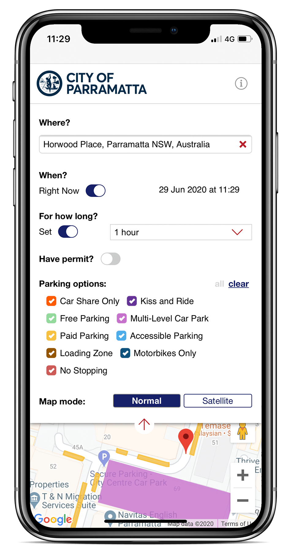 Spot Planner mobile UI searching parking