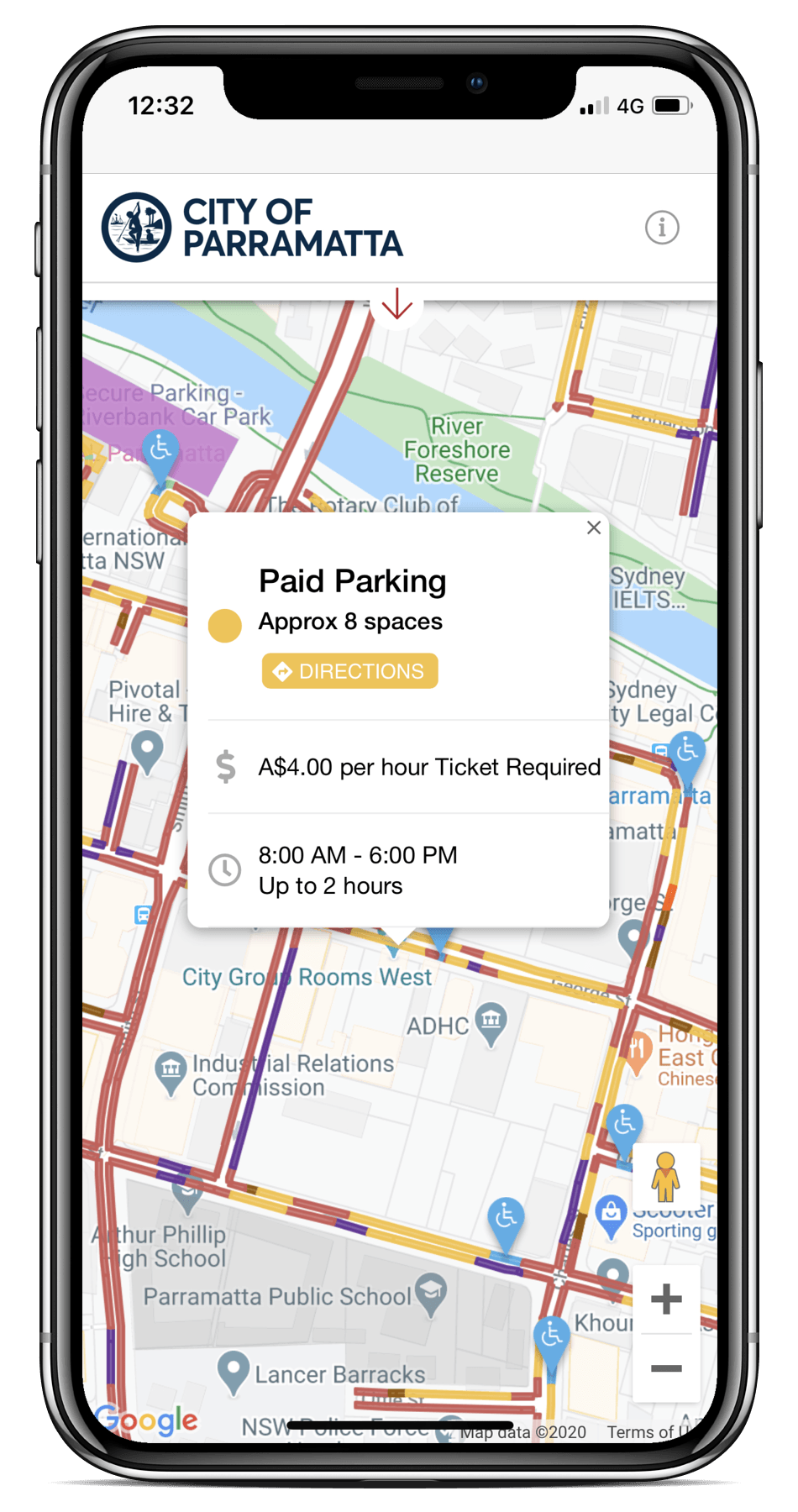 Spot Planner mobile UI view parking options