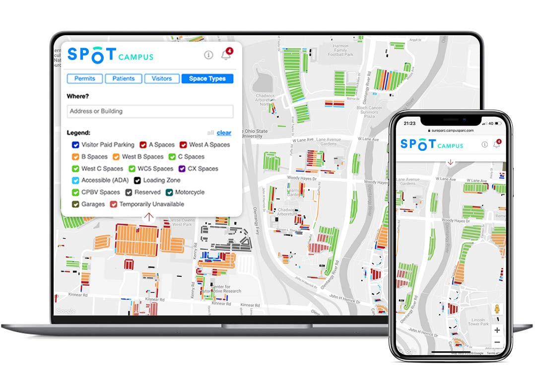 Spot Campus user interface shown on laptop and mobile