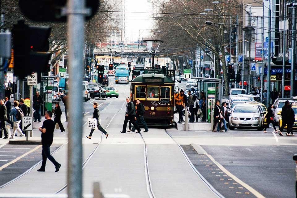 Busy Flinders Street Melbourne