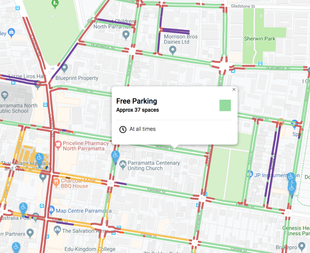 A map powered with Spot Parking's innovative smart parking technology showing to find free parking in Parramatta