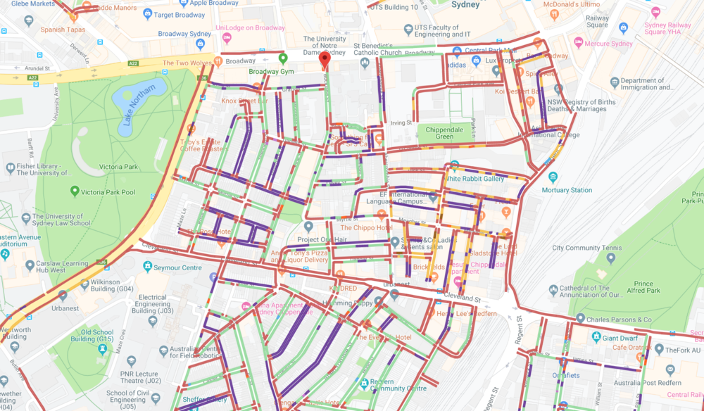 A map powered with Spot Parking's innovative technology showing to find free parking at the University of Notre Dame, Sydney