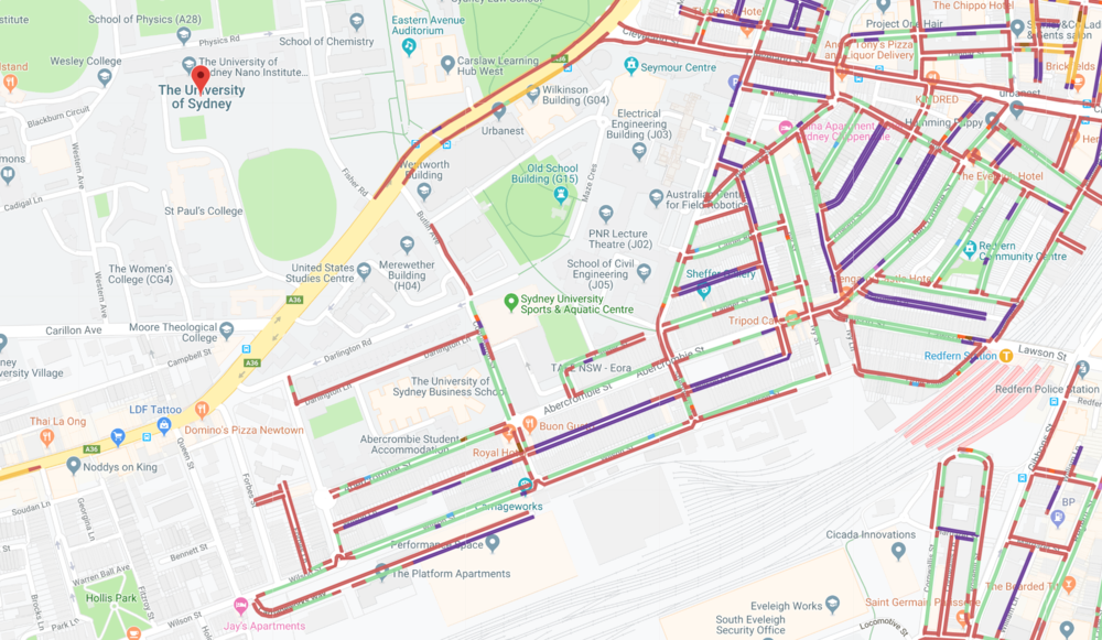 A map powered with Spot Parking's innovative technology showing to find free parking at the University of Sydney