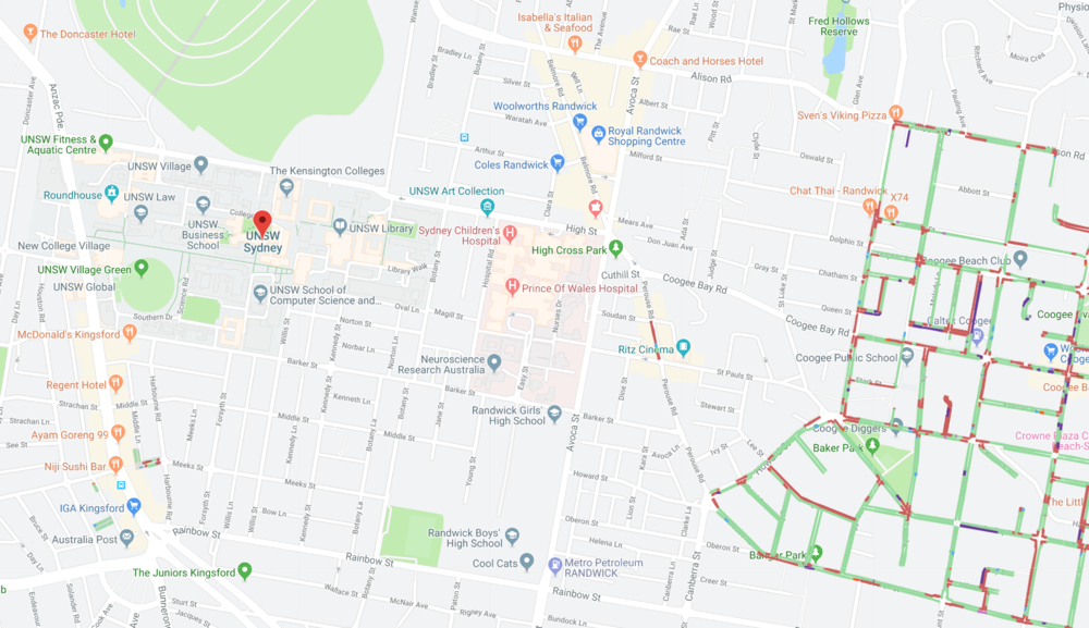 A map powered with Spot Parking's innovative technology showing to find free parking at the University of New South Wales, Sydney