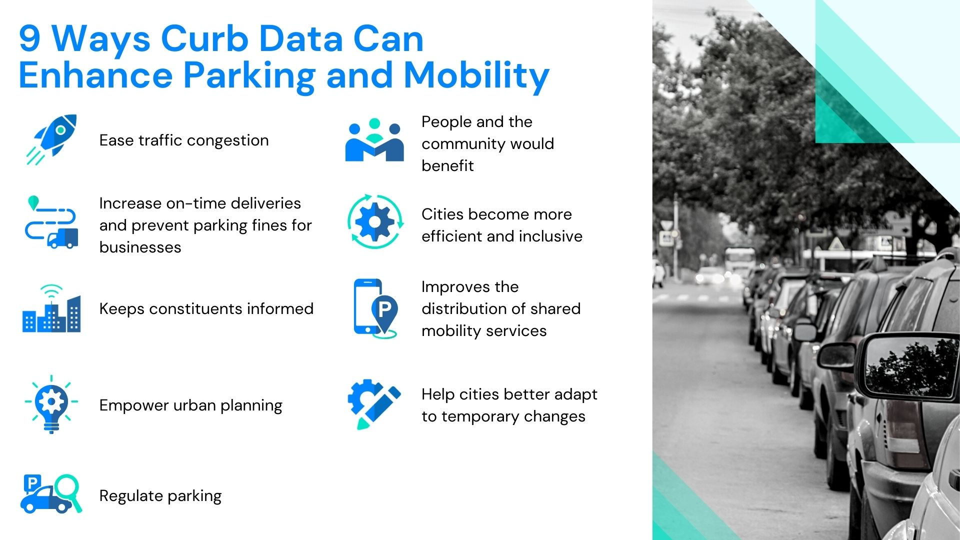 Infographic, how curb data can enhance the parking and mobility experience