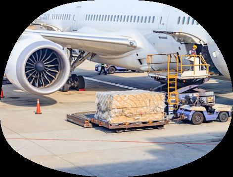 Cargo being loaded onto a plane via a scissor lift