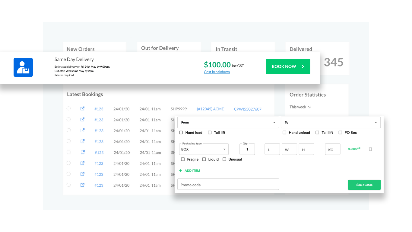Screenshot of Couriers and Freight's platform