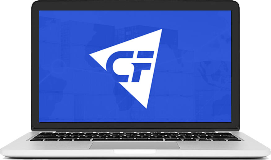 Latptop  displaying the couriers and freight logo