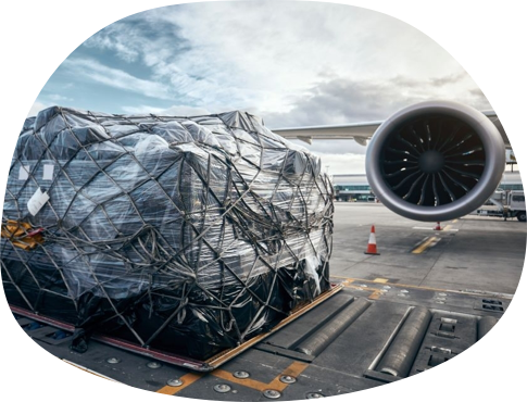 Air freight ready to be loaded onto a  cargo plane