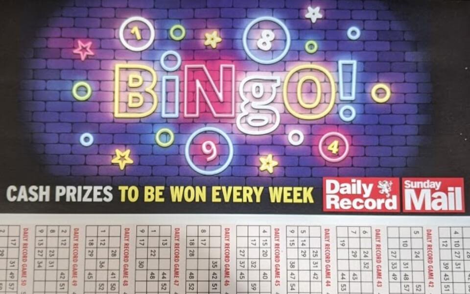 Daily Record Sunday Mail Bingo 2021