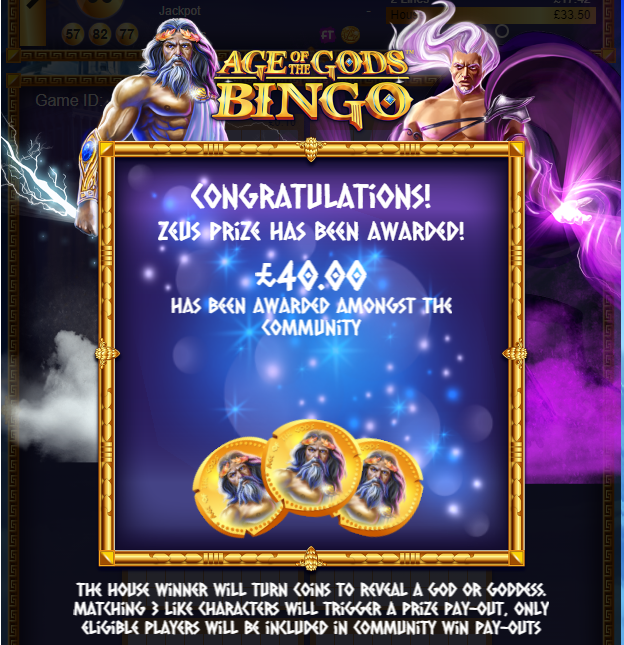 Age of the Gods Bingo Zeus Winner