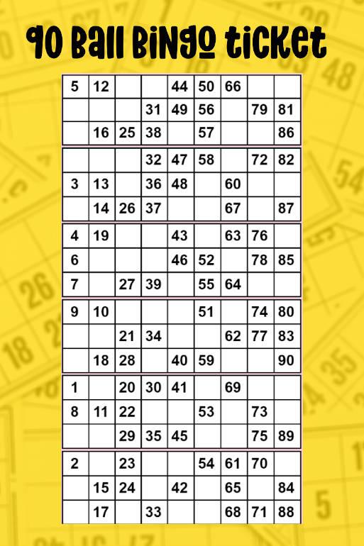 90 ball bingo ticket
