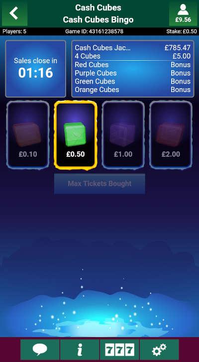Cash Cubes Bingo Ticket Purchase