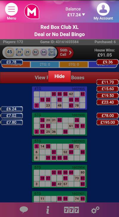 Deal or No Deal Bingo Gameplay