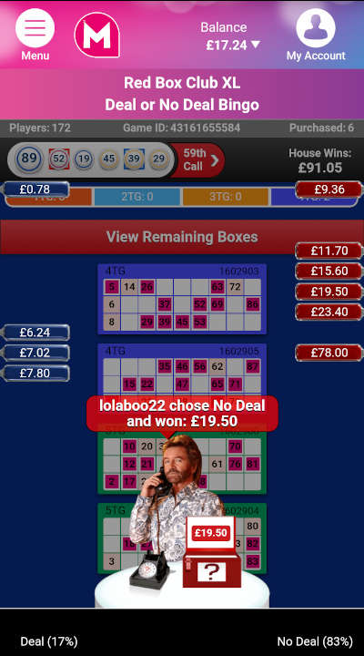 Deal or No Deal Bingo Feature Game