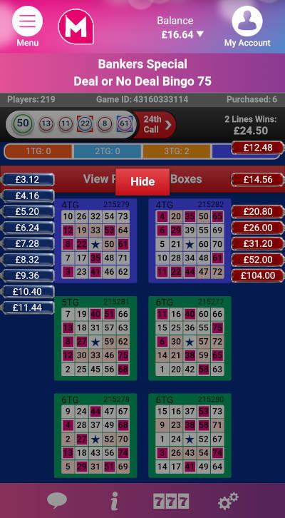 Deal or No Deal Bingo 75 ball version