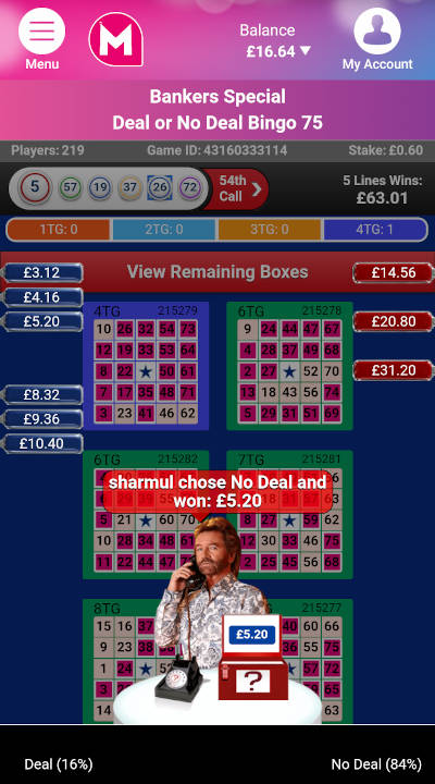 Deal or No Deal Bingo 75 bankers offer moment