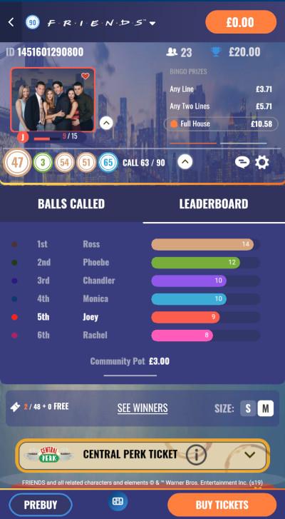 Friends Bingo in-game leaderboard