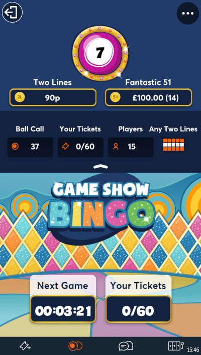 Game Show Bingo at Jackpotjoy