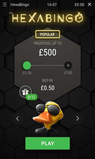 HexaBingo buy-in screen