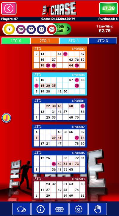 The Chase Bingo regular gameplay