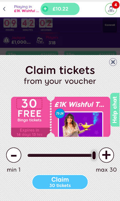 claiming free tickets voucher