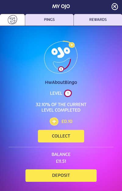 OJO Plus cashback balance