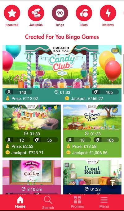 Heart Bingo mobile lobby