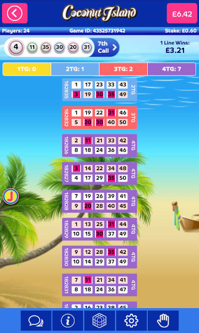 Coconut Island Bingo Game