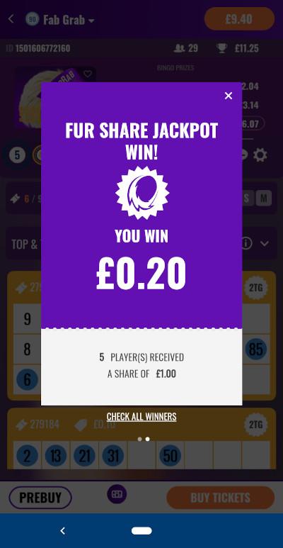 Fur Share Jackpot win