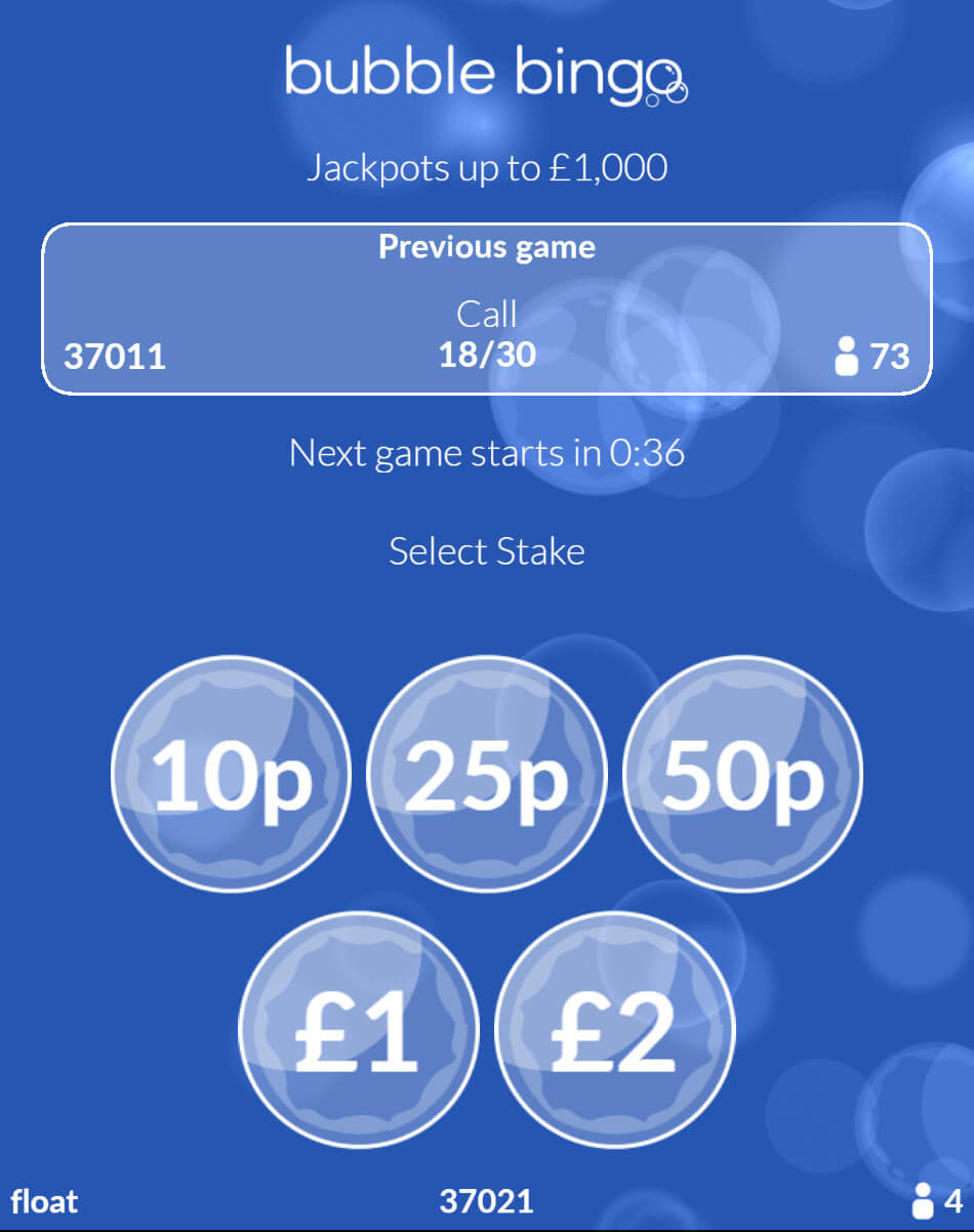 Bubble Bingo Select Your Stake