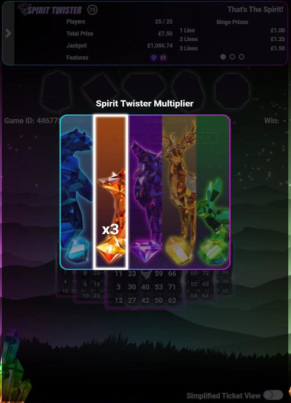 Spirit Twister Bingo multiplier selector