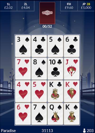 Nevada Bingo card at tombola