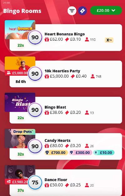 New Heart Bingo mobile lobby