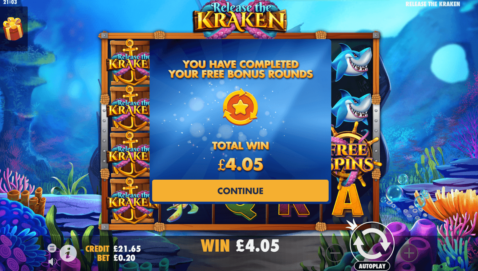 Reels Room - Release the Kraken bonus round