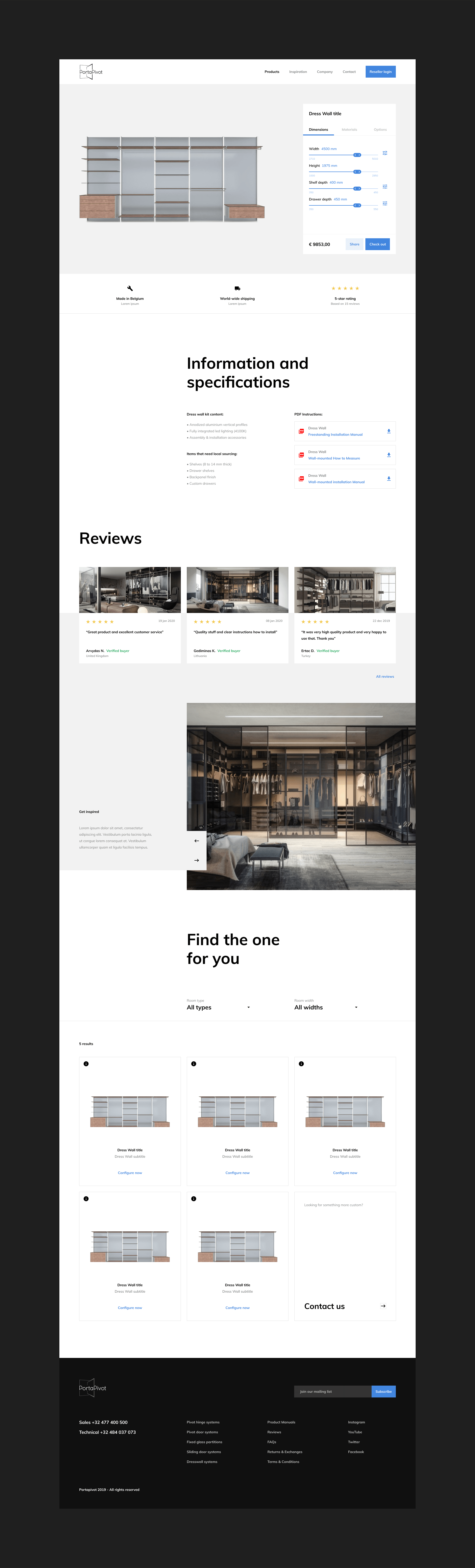 Dress Wall configurator page