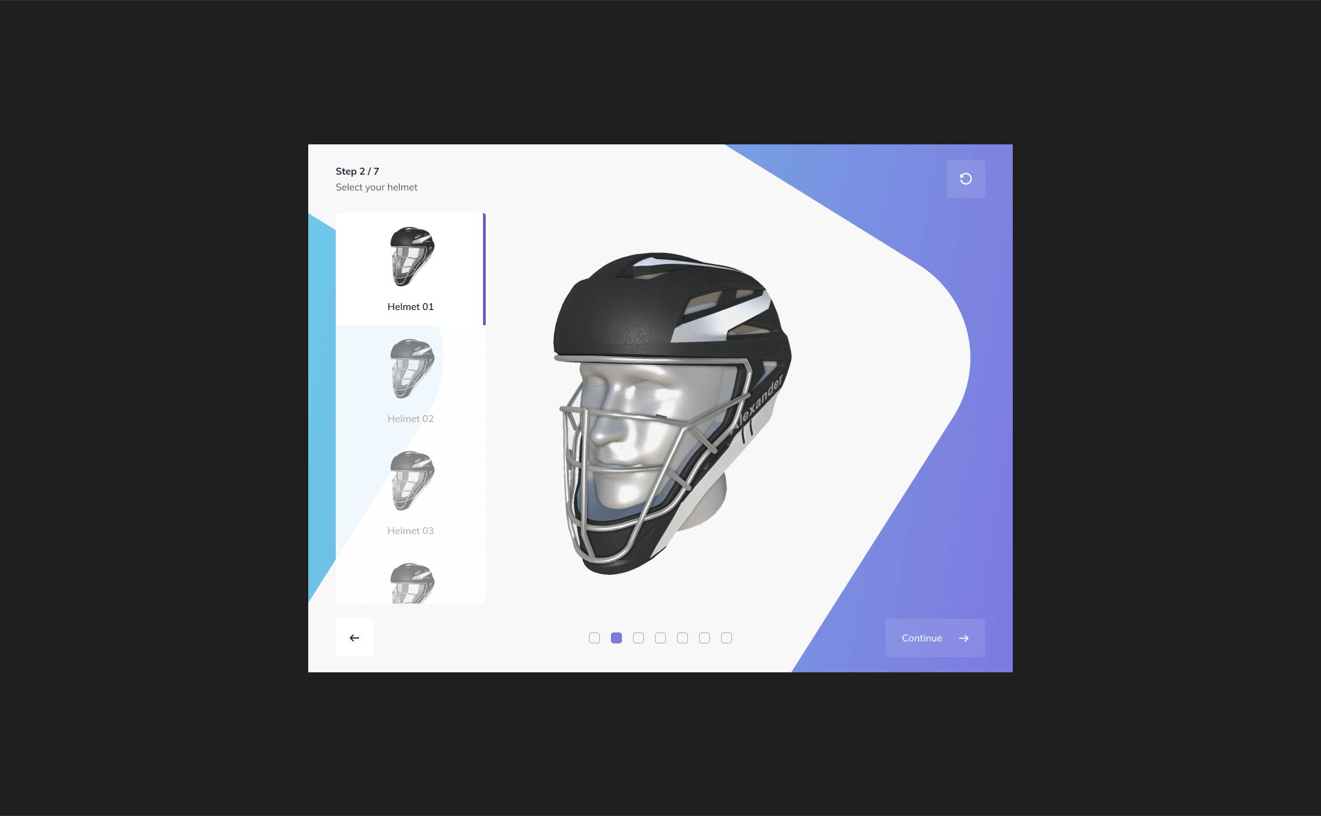 Twikit Sports Helmet selection screen