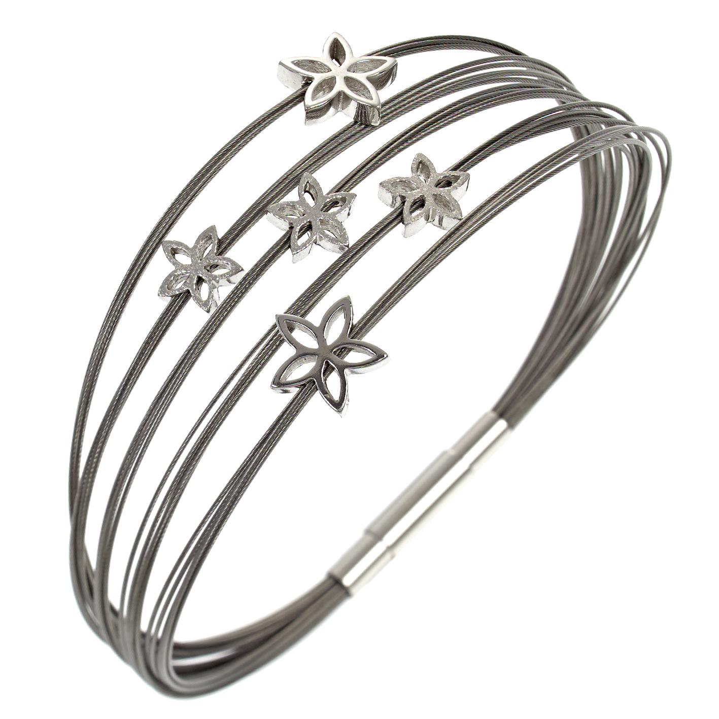 Armband Multistrang Flowers Silber SCB46/0/18