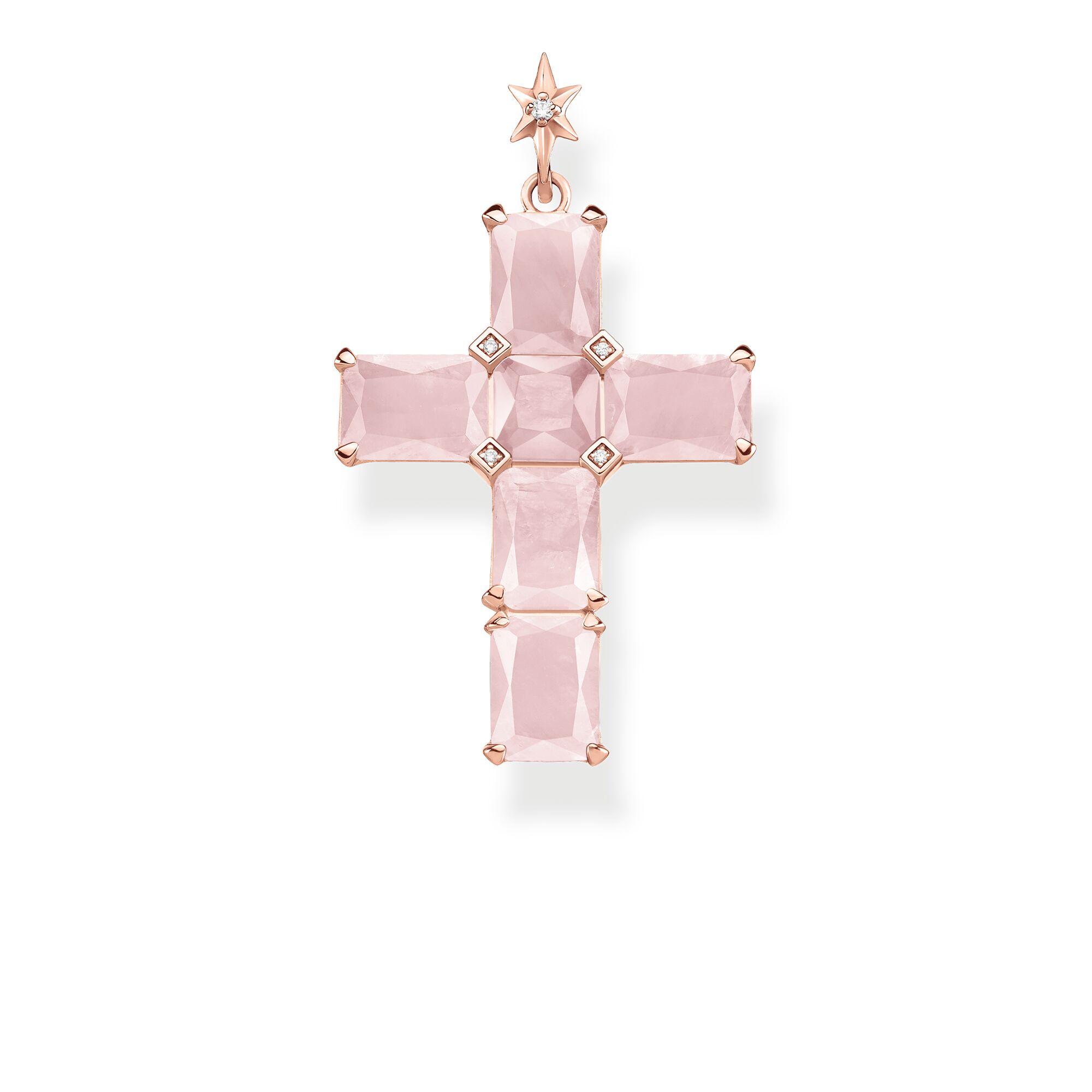 Anhänger Kreuz rosa Steine mit Stern PE890-417-9