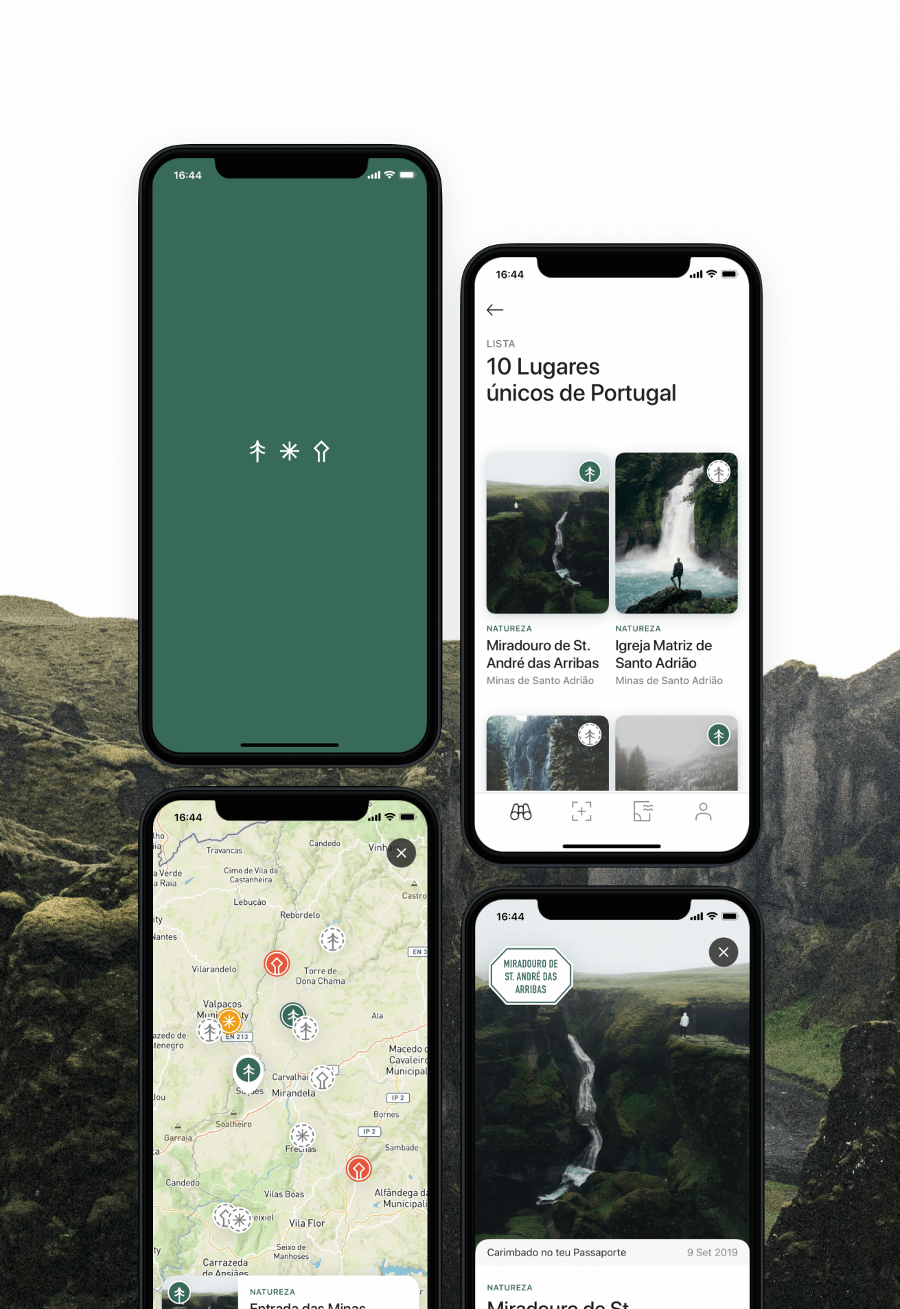Passaporte Natura 2000 mobile app screens