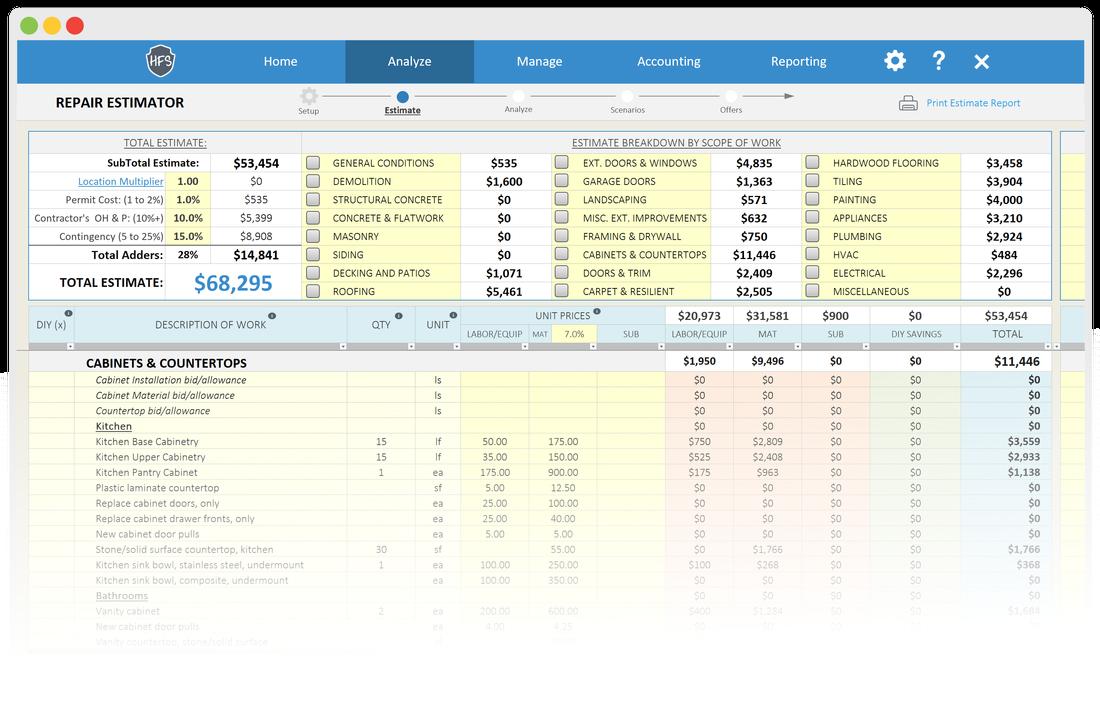 House Flipping Spreadsheet Screenshot