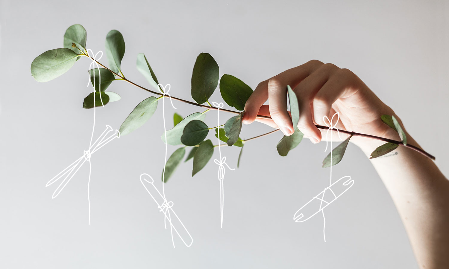 Collage of a photo of a hand holding an eucalyptus branch with white line illustrations of crafting tools hanging down from the branch