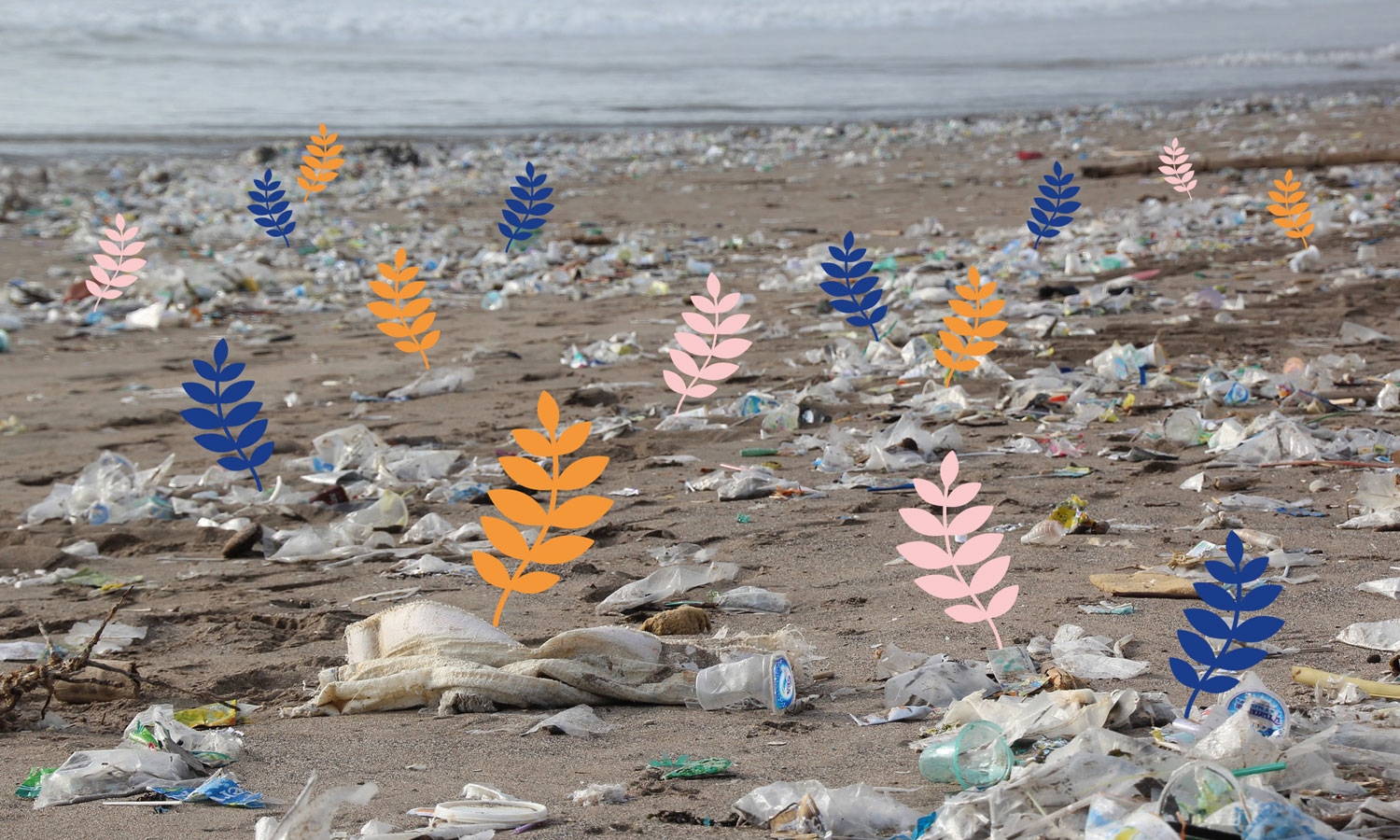 Collage of an image of plastic waste on a beach with some colorful leafy branch illustrations growing from the waste