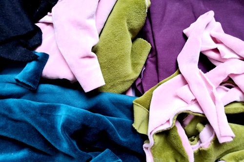 A variety of textile scraps.